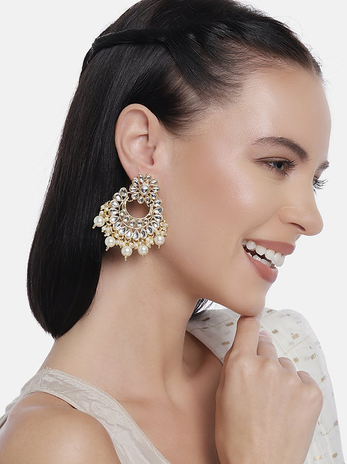 Gold Plated Kundan & Pearls Handcrafted Classic Drop Earrings