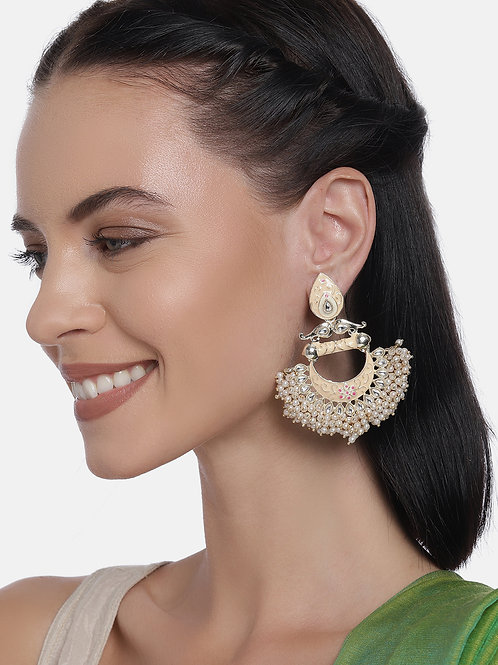 White & Gold Plated Handcrafted Pearl Crescent Shaped Chandbalis