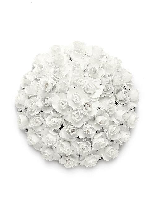 White Embellished Hair Bun Cover