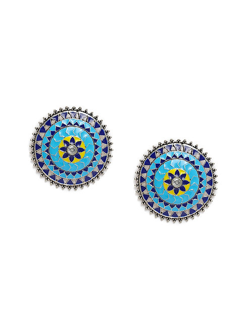 Turquoise Blue Silver-Plated Circular Handcrafted Studs