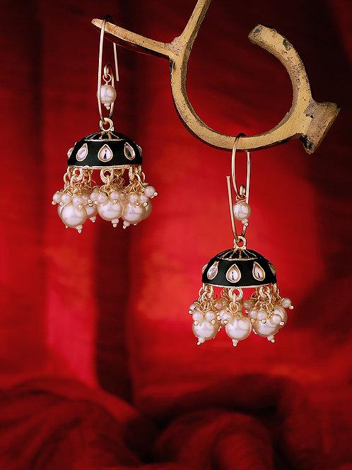 Black & Gold-Toned Gold Plated Black Kundan Embellished Dome Shaped Jhumkas