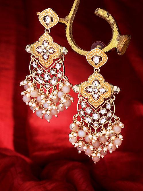 Gold-Plated Kundan Studded Drop Earrings