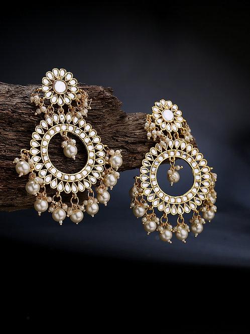 Gold-Plated & White Kundan Studded Circular Chandbalis