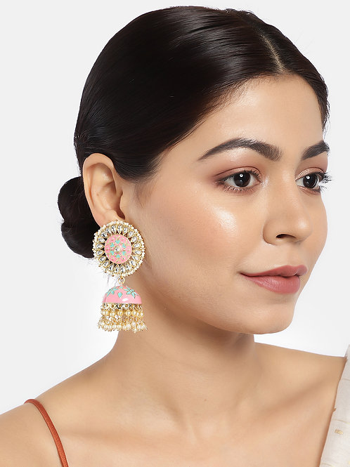 Gold-Plated & Pink Dome Shaped Jhumkas