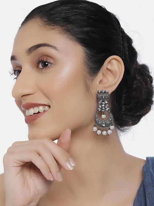 Silver-Toned Oxidized Rhodium-Plated Handcrafted Kundan Classic Drop Earrings