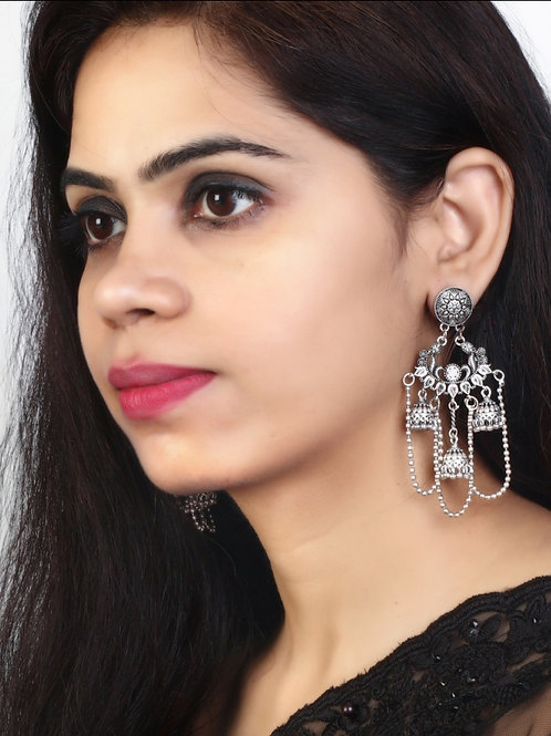 Silver Oxidized Earrings
