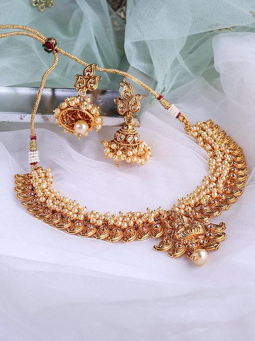 Gold-Plated Laxmi Pendant Polki Studded Handcrafted Choker Jewellery Set