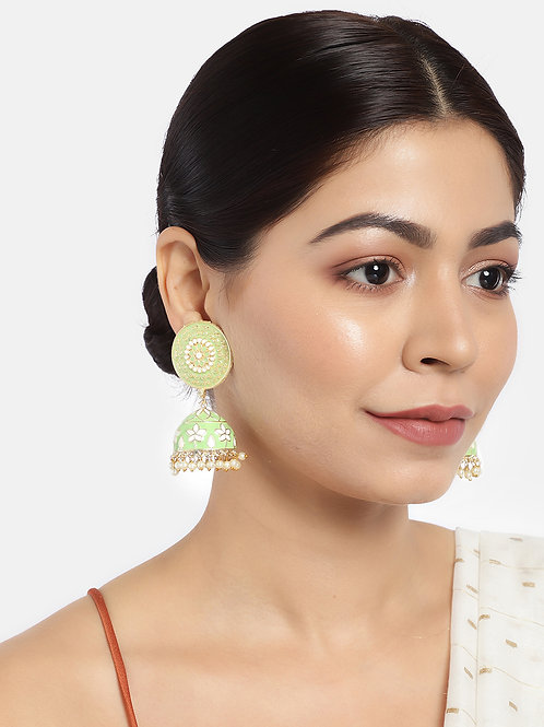 Green Gold-Plated Enamelled Handcrafted Dome Shaped Jhumkas