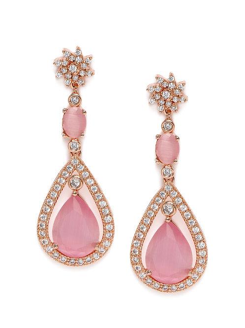 Pink Rose Gold-Plated American Diamond Studded Teardrop Shaped Drop Earrings