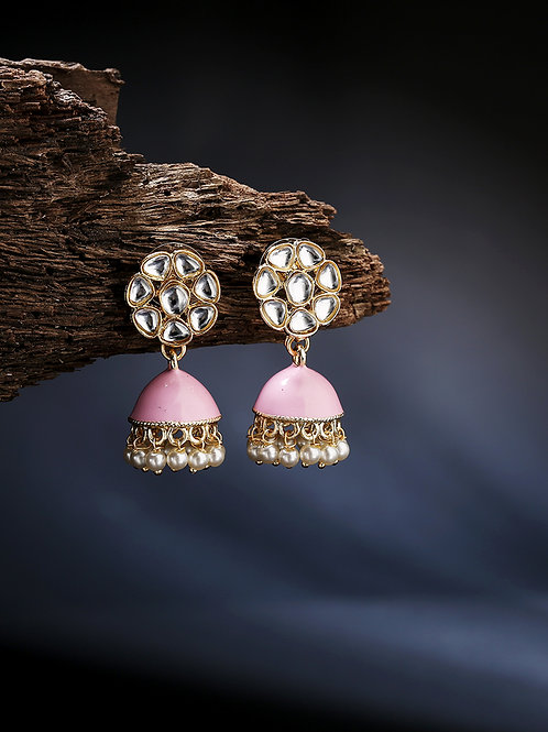 Pink Gold-Plated Dome Shaped Handcrafted Jhumkas