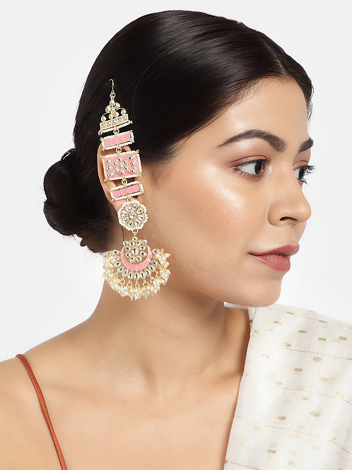 Pink Gold-Plated Enamelled Kundan Chandbalis with Ear Chains