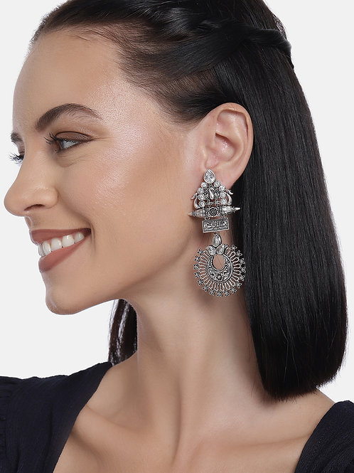 Silver-Plated Classic Oxidized Drop Earrings