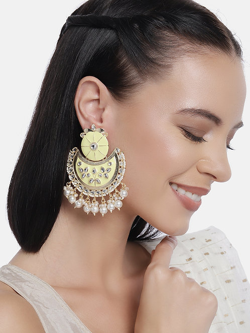 Yellow Gold-Plated Handcrafted Kundan & Pearl Classic Drop Earrings