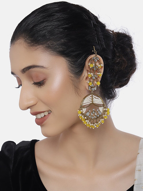 Yellow Gold-Plated Classic Handcrafted Drop Earrings with Earchains