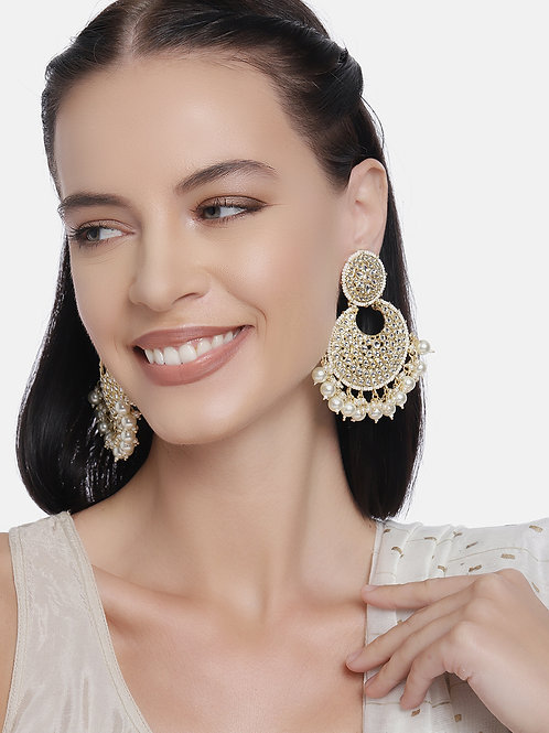 Gold-Plated & White Handcrafted Kundan Studded Crescent Shaped Chandbalis