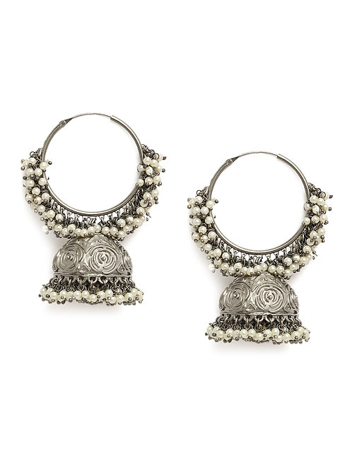 Silver-Toned Rhodium Plated Silver Oxidized Dome Shaped Jhumkas