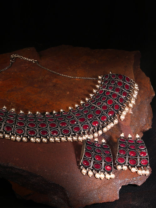 Ruby Silver Oxidized Necklace with Drop Earrings