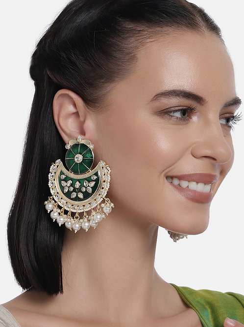 Green & Gold-Plated Handcrafted Kundan Chandbali Earrings