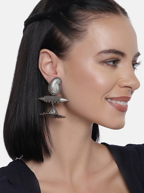 Silver-Plated Contemporary Oxidized Drop Earrings
