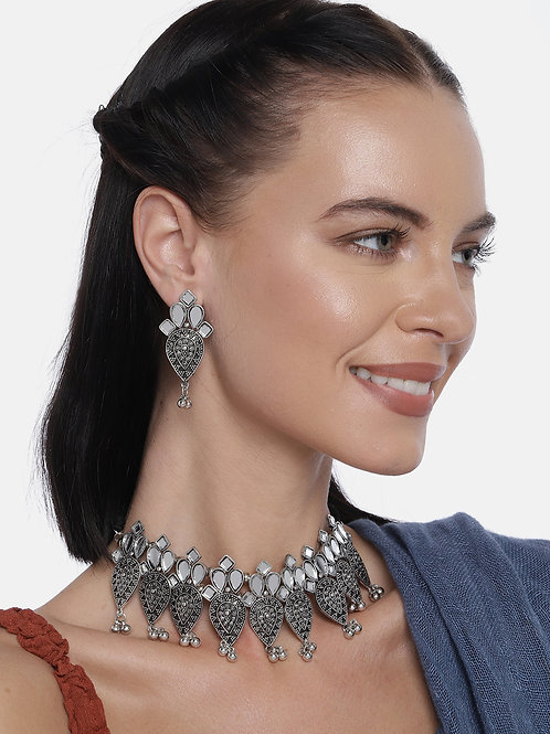 German Silver-Plated Oxidized Handcrafted Jewellery Set