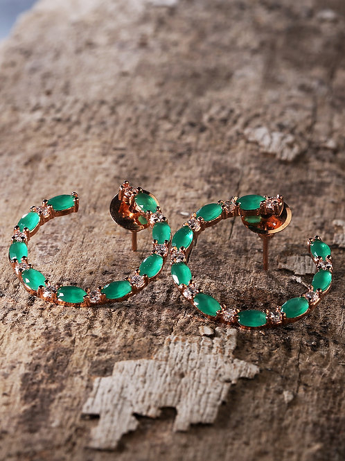 Green Rose Gold-Plated Green American Diamond Studded Handcrafted Circular Studs