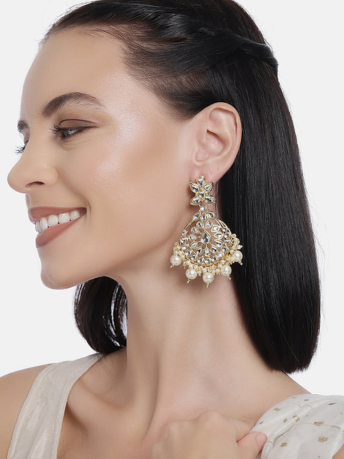Gold Plated Kundan Studded Handcrafted Classic Drop Earrings