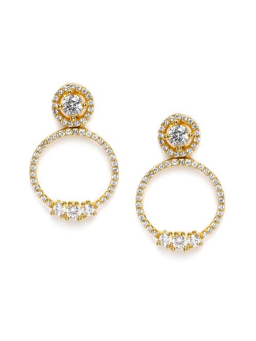 Gold-Plated & American Diamond Studded Circular Drop Earrings