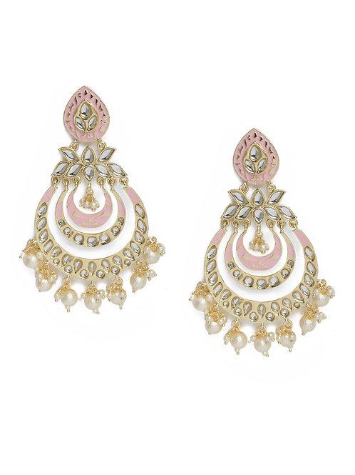 Pink Kundan Embellished Chandaballi