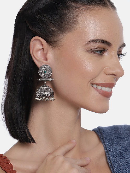 Silver-Plated Dome Shaped Oxidized Jhumkas