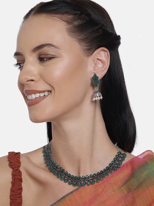 Green Silver-Plated Oxidized Handcrafted Jewellery Set