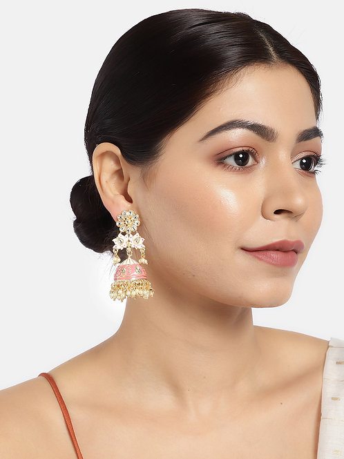 Gold-Plated & Pink Enamelled Stone Studded Shaped Jhumkas