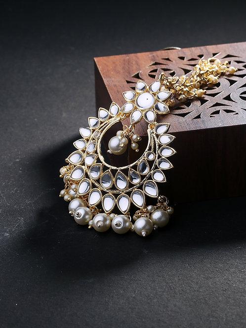 Gold Plated Kundan Studded Chand Style Maang Tika