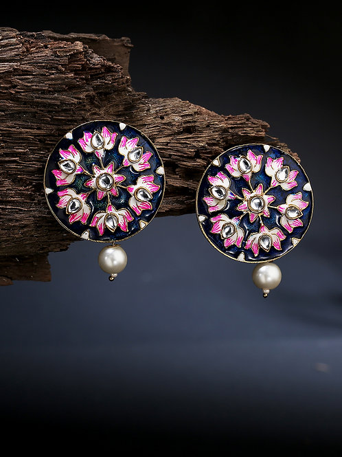 Blue & Pink Gold-Plated Meenakari Handcrafted Pearl Oversized Circular Studs