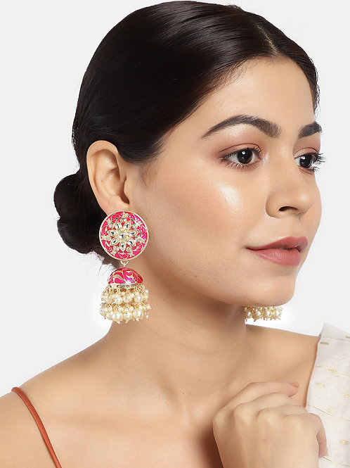 Pink & Gold-Plated Enamelled Stone-Studded Dome Shaped Jhumkas