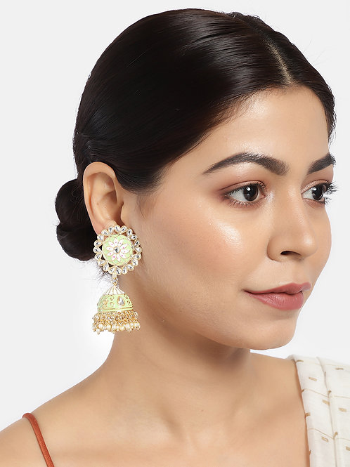 Sea Green & Gold-Plated Enamelled Dome Shaped Jhumkas