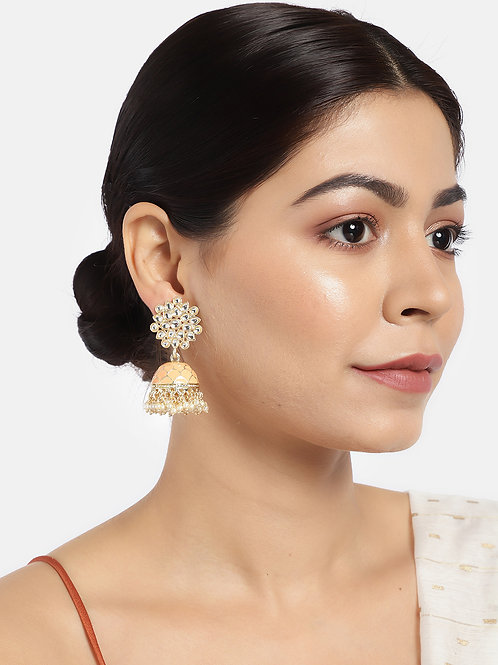 Gold-Plated & Peach-Coloured Stone-Studded Enamelled Dome Shaped Jhumkas