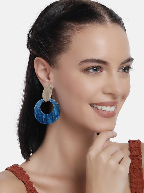 Blue Gold-Plated Circular Handcrafted Drop Earrings