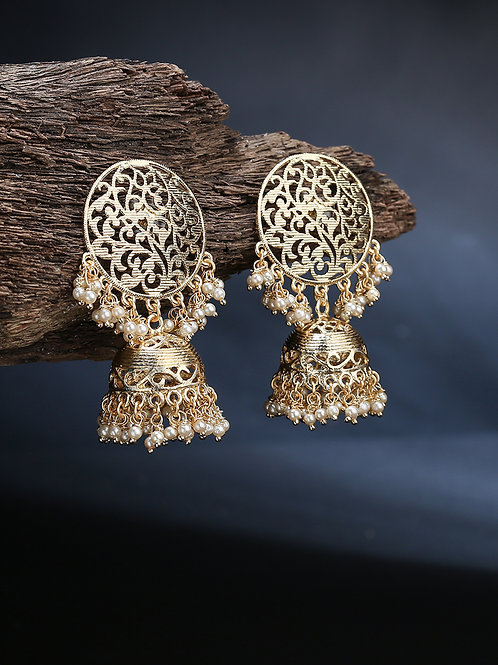 Gold-Toned Gold Plated Dome Shaped Jhumkas