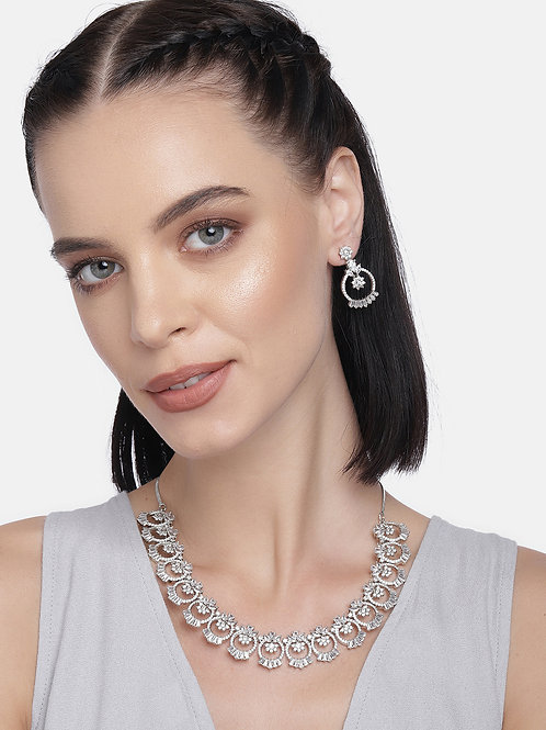 Silver-Plated American Diamond Studded Handcrafted Jewellery Set