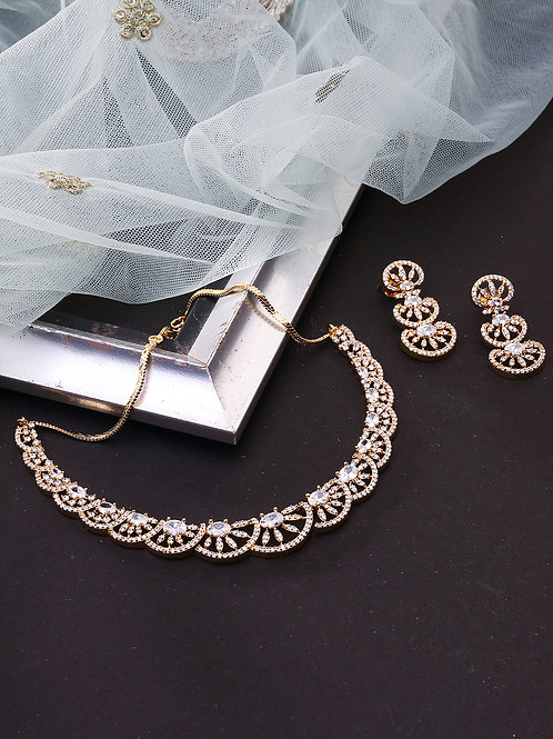 Gold-Plated American Diamond Scalloped Cut Handcrafted Jewellery Set