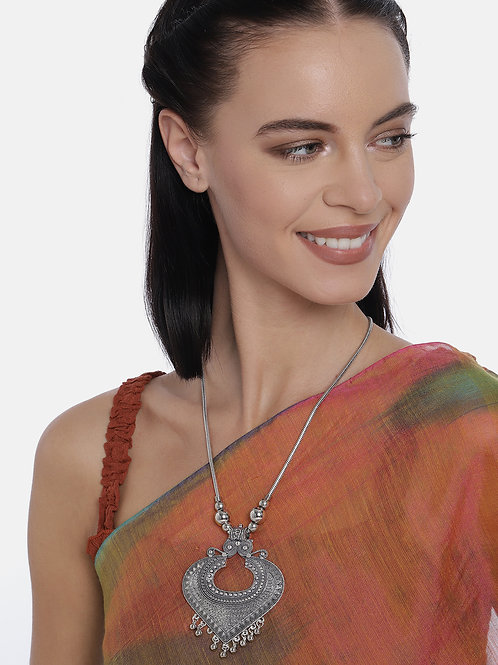 Silver-Plated Oxidized Handcrafted Pendant Necklace