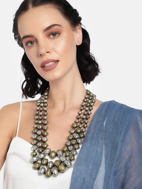 Silver Plated & Gold-Toned Oxidised Layered Necklace