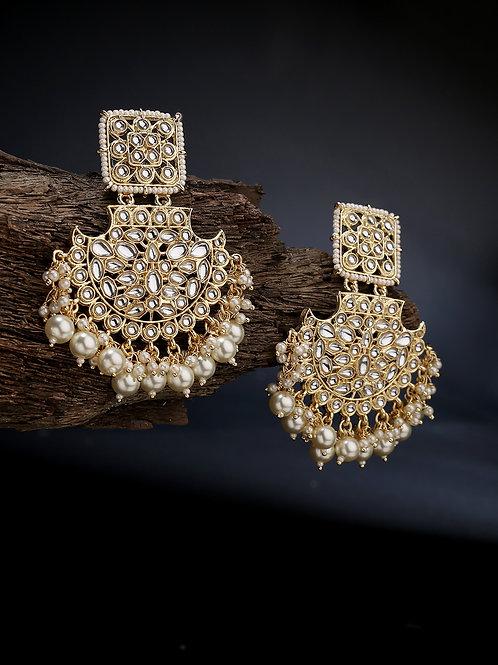 Gold-Plated Kundan Studded Chandbalis