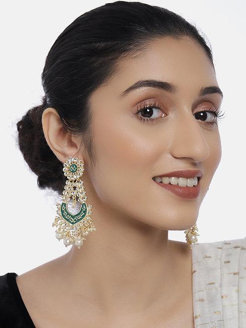 Green Gold-Plated Kundan-Studded Enamelled Classic Drop EarringsGreen Gold-Plate