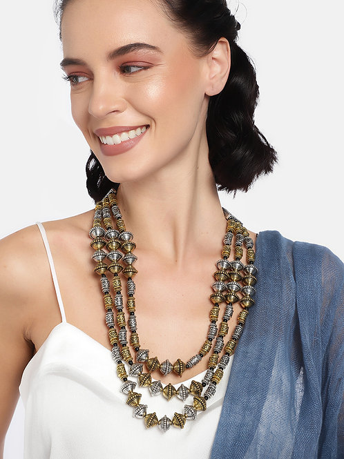 Silver-Toned & Gold-Toned Layered Necklace