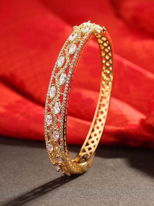 Gold-Toned Gold Plated American Diamond Studded Handcrafted Bracelet