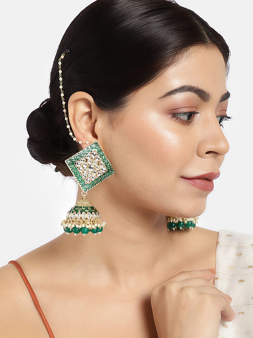 Green Gold-Plated Hand Painted Dome Shaped Jhumkas with Ear Chain