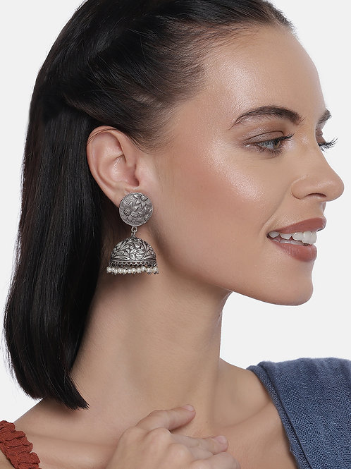 Silver-Plated Oxidized Dome Shaped Jhumkas