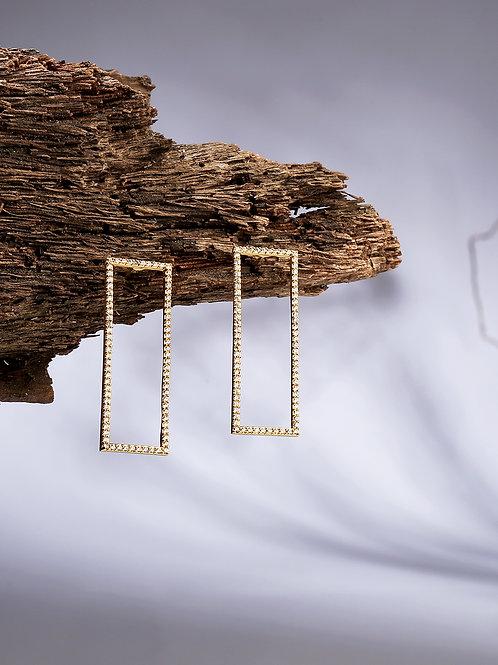 Gold-Plated Geometric Drop Earrings