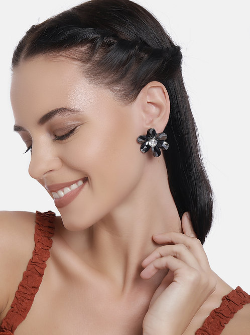 Black Gold Plated Floral Handcrafted Studs